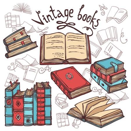 bookshop: Retro sketch books decorative icons set library concept vector illustration
