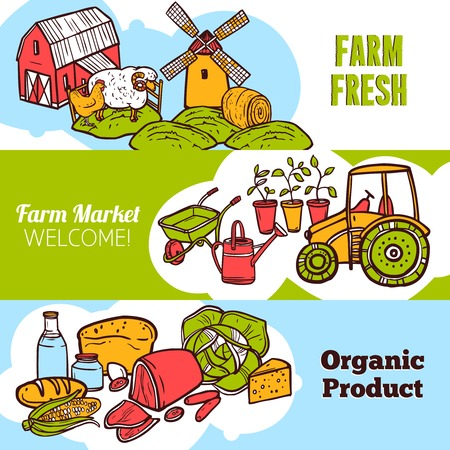 Agriculture hand drawn horizontal banner set with organic farm products elements isolated vector illustration Vector