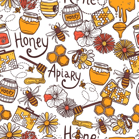 Honey apiary seamless pattern with sweet food flying bee wax vector illustration