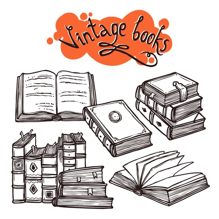 Vintage books sketch decorative set black and white vector illustration Illustration