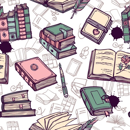 library: Vintage books library bookstore hand drawn seamless pattern vector illustration