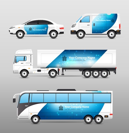 Transport advertentie ontwerp blauwe sjabloon decoratieve pictogrammen instellen geïsoleerde vector illustratie