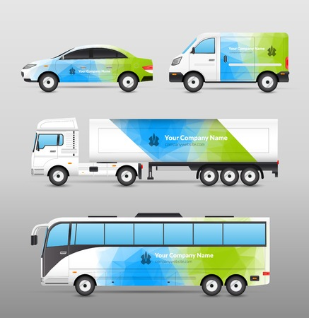 commercial vehicle: Transport advertisement design in blue and green abstract template decorative icons set isolated vector illustration