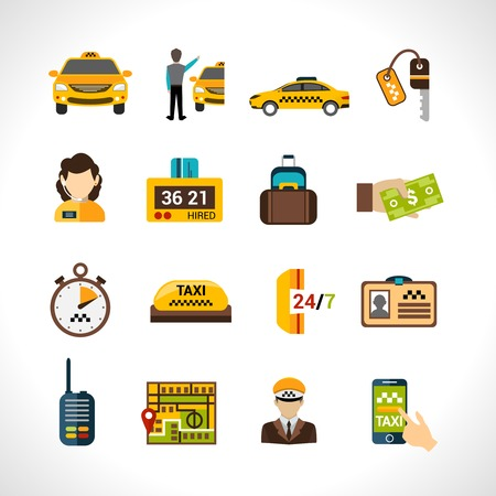 car driver: Taxi service icons set wth payment cab driver id isolated vector illustration Illustration