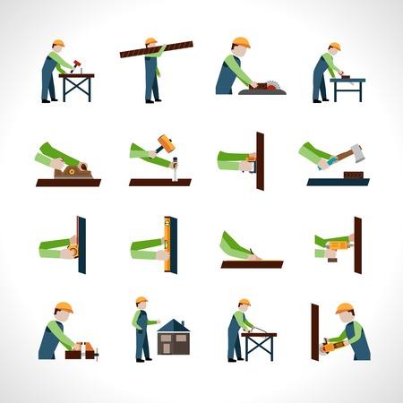 Carpenter pictogrammen die met geïsoleerd timmerwerk en houtwerk gereedschappen vector illustratie