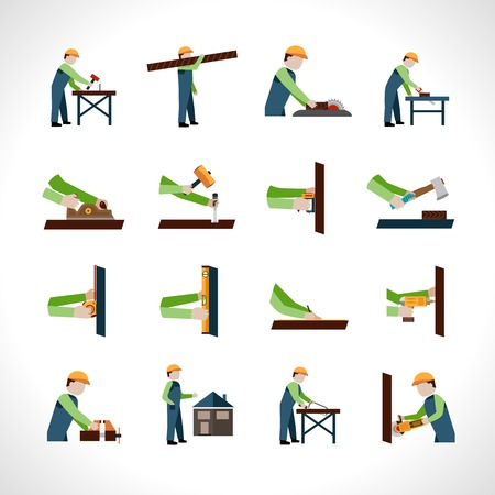 Carpenter icons set with carpentry and woodwork tools isolated vector illustration Illustration