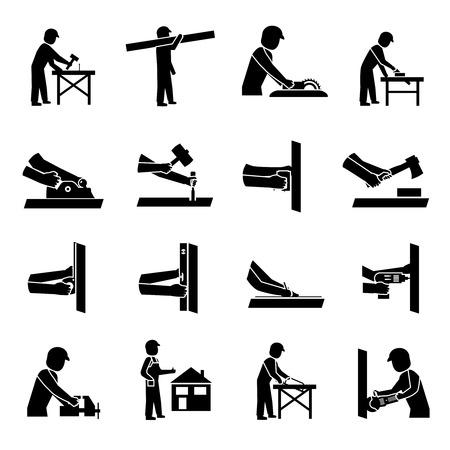 carpintero: Carpintero iconos conjunto negro con herramientas de carpinter�a y madera aislado ilustraci�n vectorial