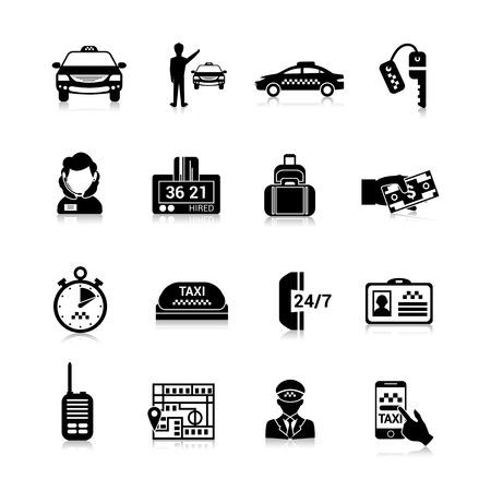 chofer: Taxi iconos conjunto negro con aislados licencia de conducir para equipaje ilustraci�n vectorial