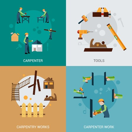 carpenter: Carpentry work design concept set with carpenter tools flat icons isolated vector illustration