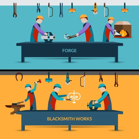 metal working: Blacksmith workshop with men working with forging metal flat vector illustration