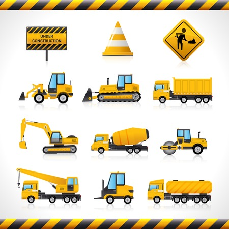compact track loader: Construction machines decorative icons set with bulldozer excavator loader isolated vector illustration Illustration