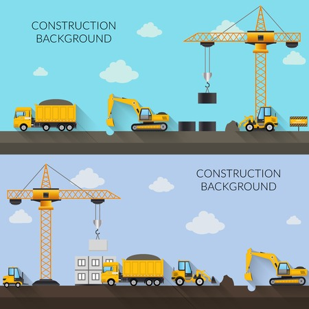 Construction background with cranes tractor trucks and industrial machinery vector illustration