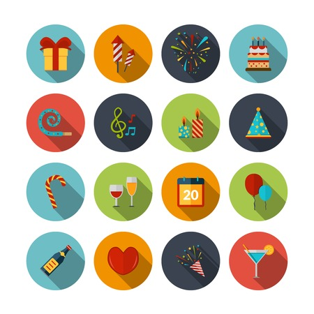 party food: Celebration icons set with cocktail confetti fireworks cake balloons isolated vector illustration