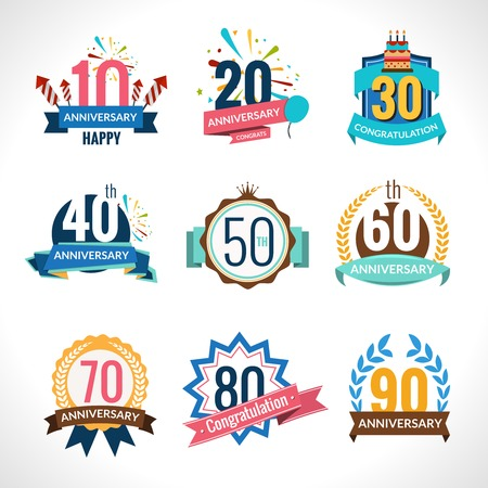 celebra: Aniversario de fiesta feliz celebración festiva emblemas establecidos con cintas aisladas ilustración vectorial