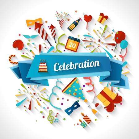 Celebration background with ribbon and party entertainment holiday elements vector illustration
