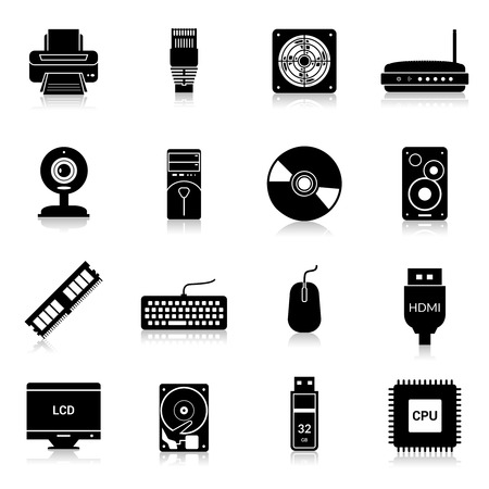 main part: Computer parts icons black set with monitor modem keyboard isolated vector illustration Illustration