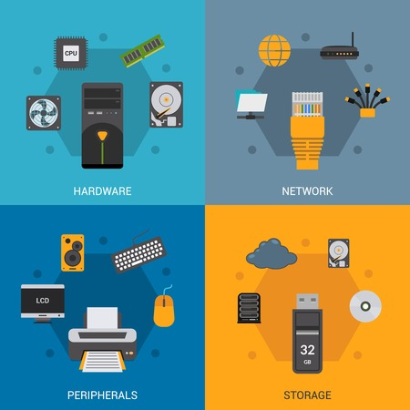 Computer parts design concept set with hardware network peripherals storage flat icons isolated vector illustration Vectores
