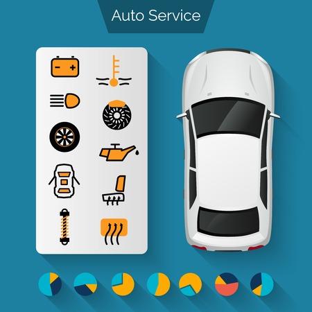 Auto service infographics set with auto car repair and diagnostics symbols and charts vector illustration