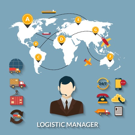 logistics: Logistic manager infographics set with delivery business workflow and world map vector illustration Illustration