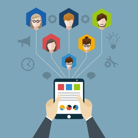 Distant management concept with businessman hands holding tablet with employees network vector illustration