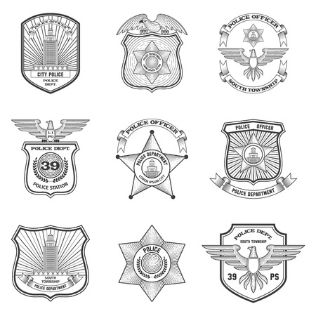 enforcement: Police officer federal cop department emblems black set isolated vector illustration