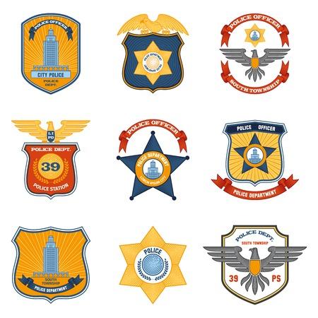 officier de police: badges de police application de la loi et color� gouvernement ensemble isol� illustration vectorielle Illustration