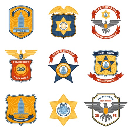 enforcement: Police badges law enforcement and government colored set isolated vector illustration