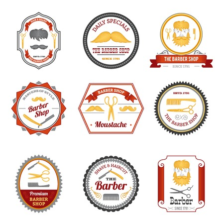 grooming: Barber shop hair beard and mustache grooming emblems colored set isolated vector illustration Illustration
