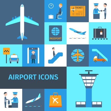 controlling: Airport lounge public transportation business decorative icons set isolated vector illustration Illustration