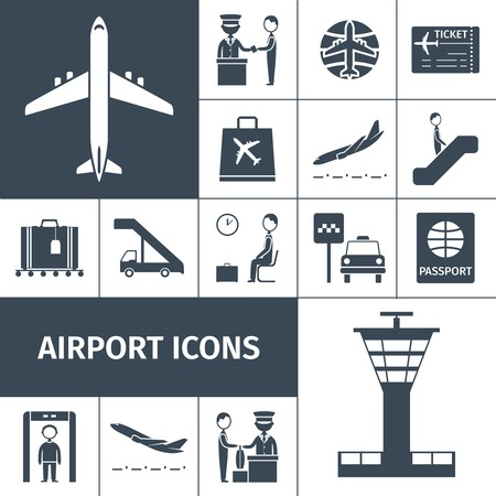 Luchthaven decoratieve pictogrammen zwart set met lounge boarding maat en bagagecontrole elementen geïsoleerd vector illustratie