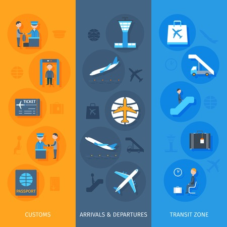 set going: Airport vertical banner set with transit zone customs arrivals and departures elements isolated vector illustration