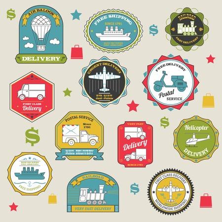 Emblemi di consegna adesivi spedizione di carta colorata set illustrazione vettoriale isolato Archivio Fotografico - 37810972