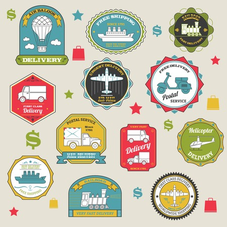 Delivery emblems colored paper shipping stickers set isolated vector illustration Illustration