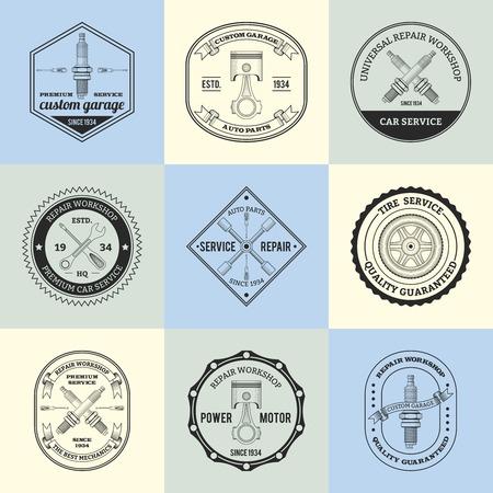 motor mechanic: Repair workshop premium car garage service emblems set isolated vector illustration