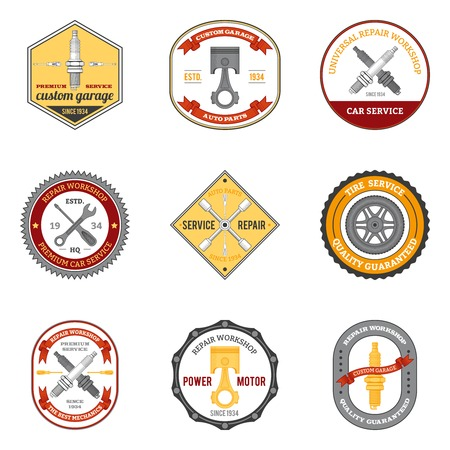 Repair workshop car and motorcycle mechanic emblems colored set isolated vector illustration Vector