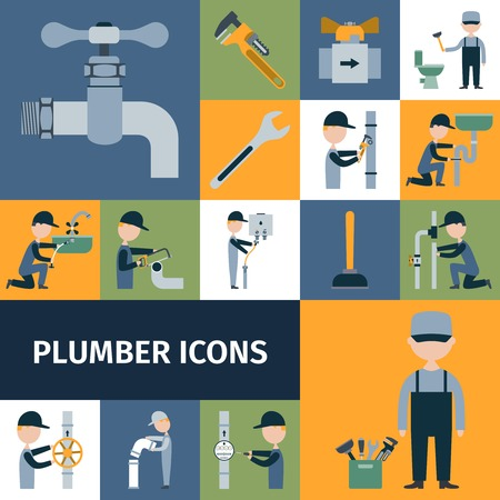 plumber with tools: Plomero herramientas equipos y accesorios decorativos iconos conjunto aislado ilustraci�n vectorial Vectores