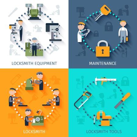 Locksmith design concept with maintenance equipment and tools flat icons isolated vector illustration Ilustração