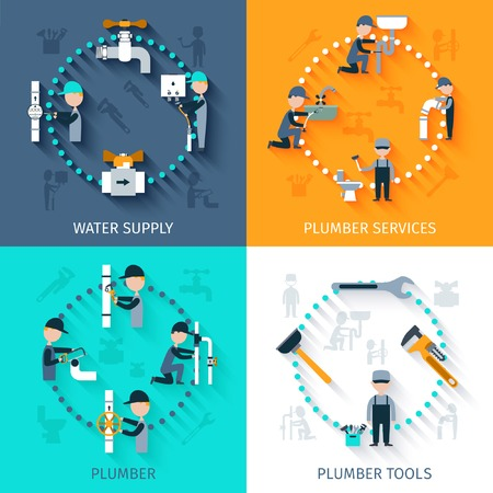 pipe water pipeline: Plumber services design concept set with water supply tools flat icons isolated vector illustration
