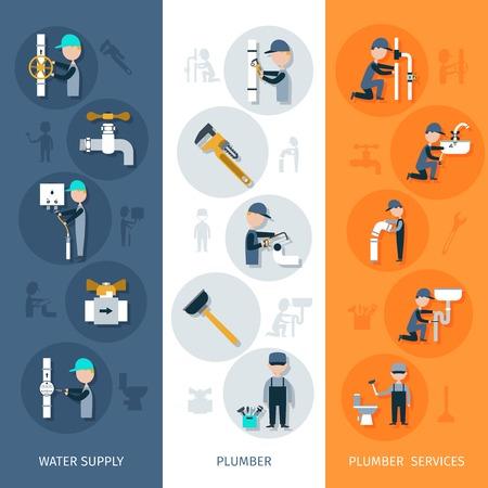 Bannière verticale Plombier sertie de services d'approvisionnement en eau des éléments plats isolé illustration vectorielle Banque d'images - 37810990
