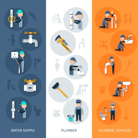 plumbing tools: Plumber vertical banner set with water supply services flat elements isolated vector illustration