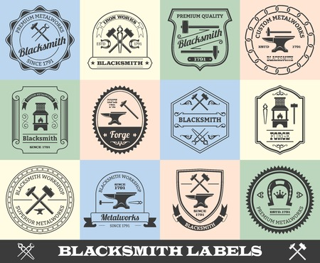foundry: Blacksmith premium quality iron works black label set isolated vector illustration