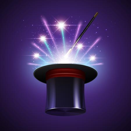 mago: Fondo mágico espectáculo con el mago realista palo sombrero y fuegos artificiales ilustración vectorial Vectores