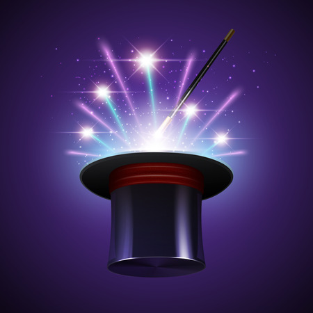 shine background: Magic show background with realistic magician hat stick and fireworks vector illustration