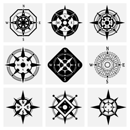 compass rose: Sea navigation nautical compass wind rose black icons set isolated vector illustration