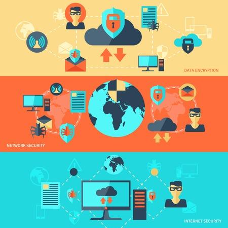 Netwerk Internet Security banner set met data-encryptie-elementen geïsoleerd vector illustratie
