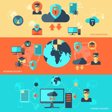 Network internet security banner set with data encryption elements isolated vector illustration Vettoriali