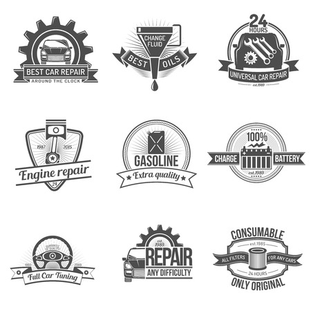 car part: Premium quality auto service car repair industry emblem set isolated vector illustration