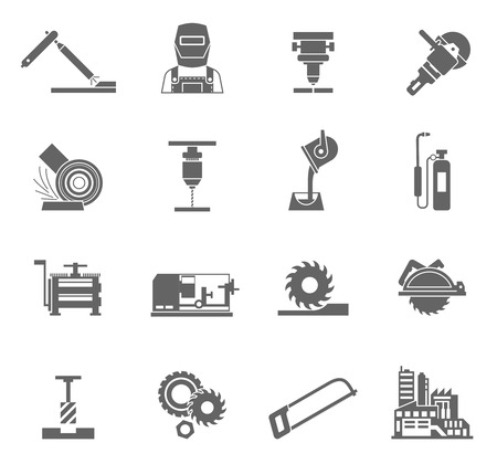 work in progress: Metal-working industry black icon set with power equipment isolated vector illustration