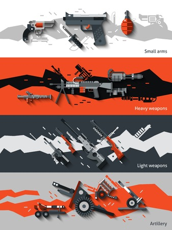 artillery: Weapon horizontal banners set with small arms heavy light artillery elements isolated vector illustration