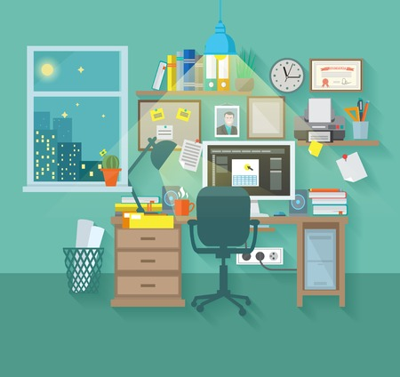 interior design: Workspace in room interior with desk chair home computer and stationery vector illustration
